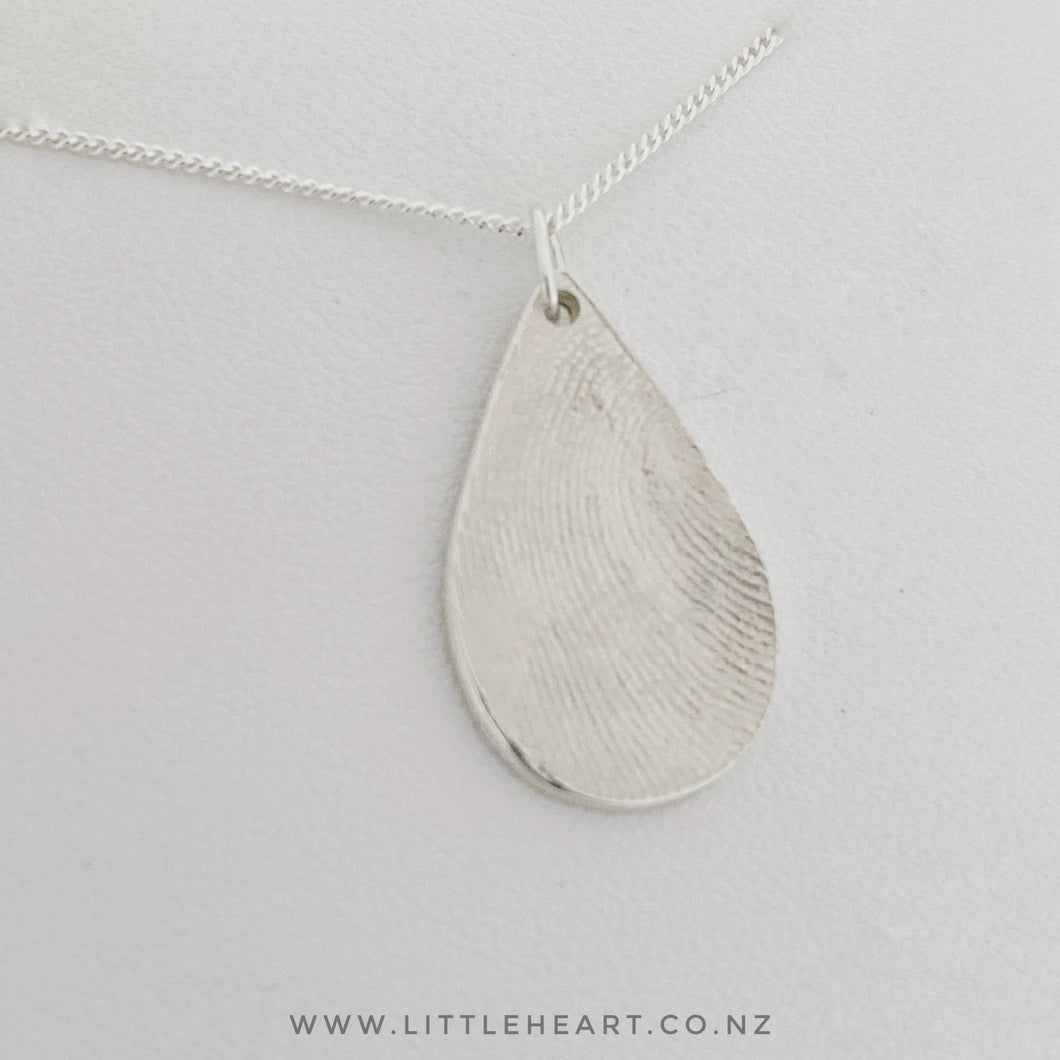 sterling silver small droplet pendant, fingerprint jewellery nz made