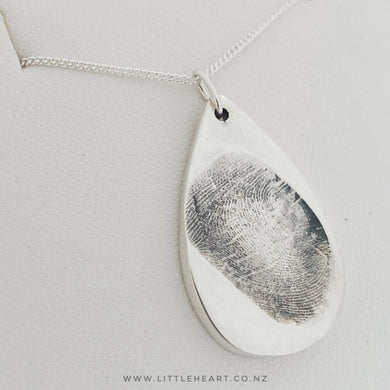 Sterling silver, Medium Droplet, nz made jewellery from your fingerprints