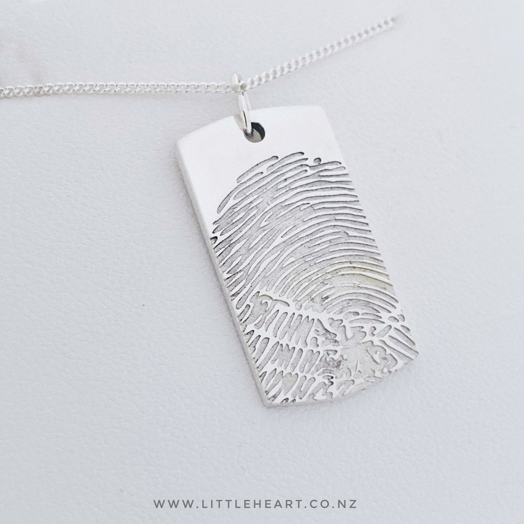 Sterling Silver Mens tag pendant, sterling silver, made in New Zealand