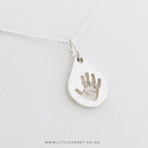 Mini Droplet pendant, nz made handprint jewellery