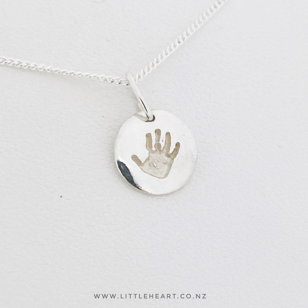 Tiny Round Mini handprint pendant, perfect for daily wear - use fingerprints