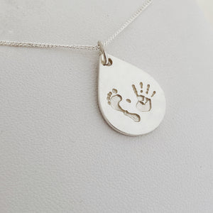hand and footprint and fingerprinting jewellery, nz made from sterling silver