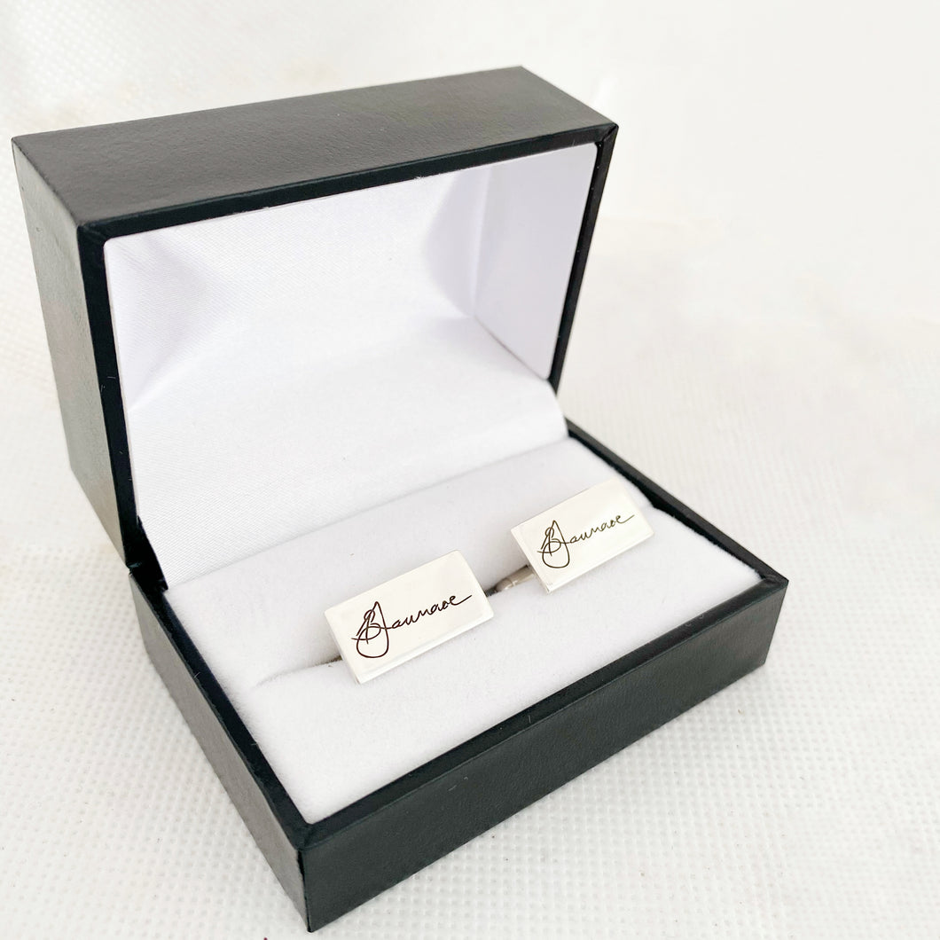 signature Engraved Cufflinks Sterling silver with your actual signature or handwriting, made in nz