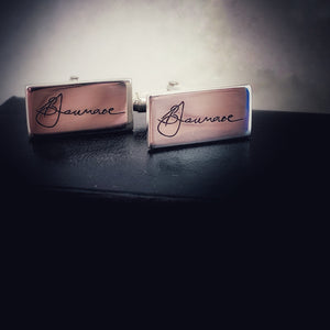 Brushed sterling silver signature cufflinks, handmade in New Zealand from sterling silver