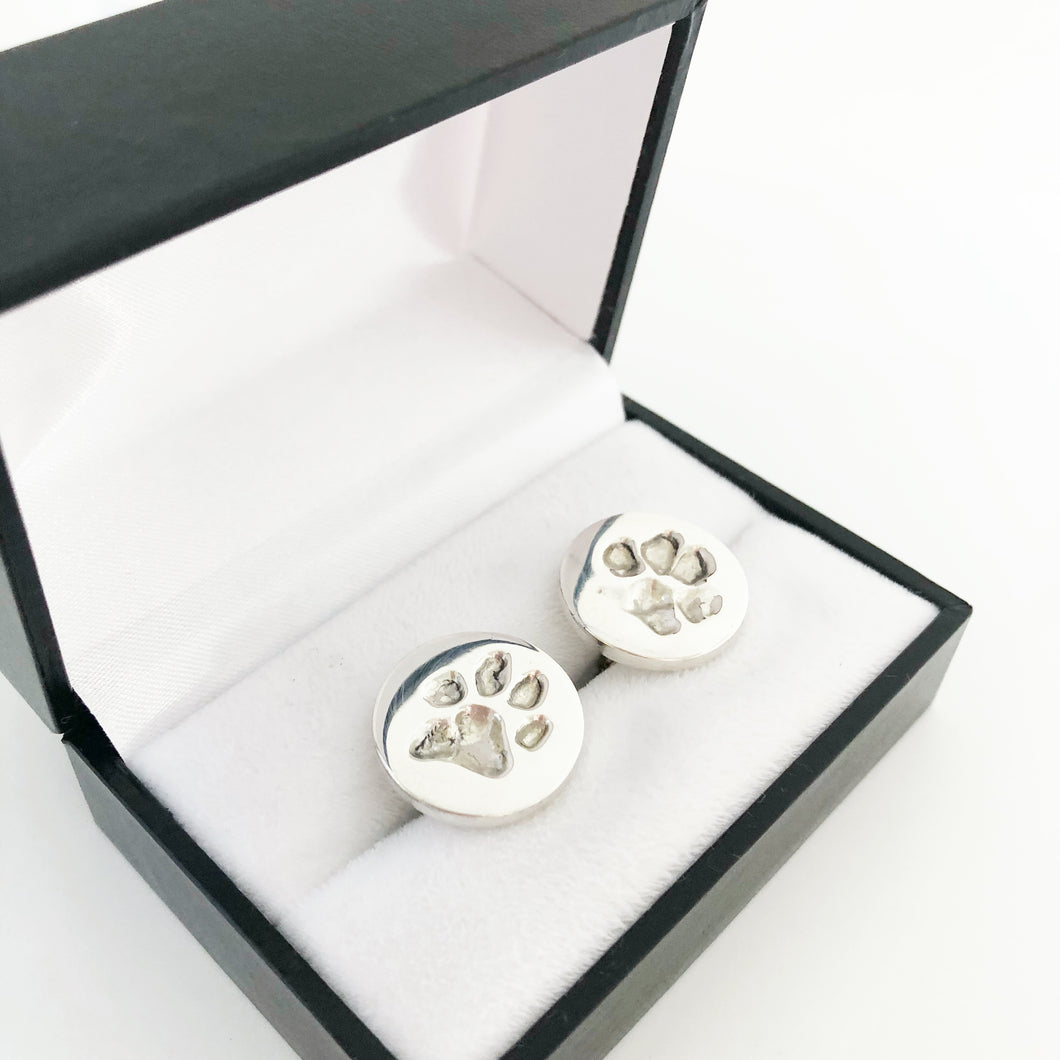 Pet Cufflinks with actual paw prints