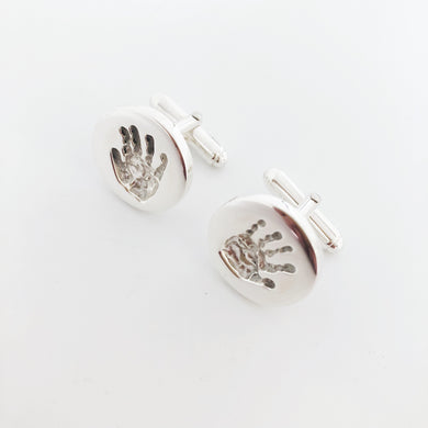 inkless cufflinks handprints from new baby
