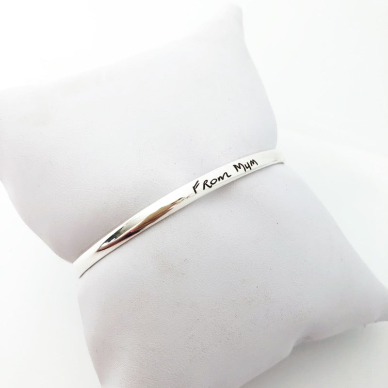 Sterling silver bangle with engraved handwriting nz