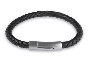 Mens black leather bracelet for use with our handprint, fingerprint and paw print jewellery