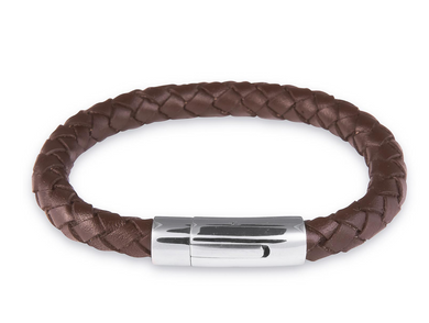 Mens brown leather bracelet for handprint, fingerprints, footprints and paw print Jewellery