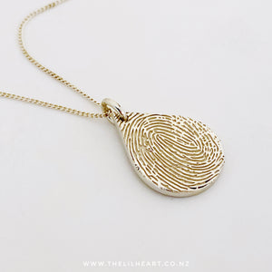 fingerprint pendant touch New Zealand sterling silver necklace fingerprint