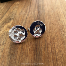 pet paw print cufflinks and jewellery sterling silver nz made