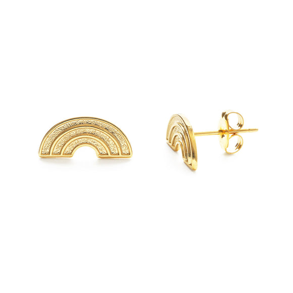 Gold Retro Rainbow Earrings - New