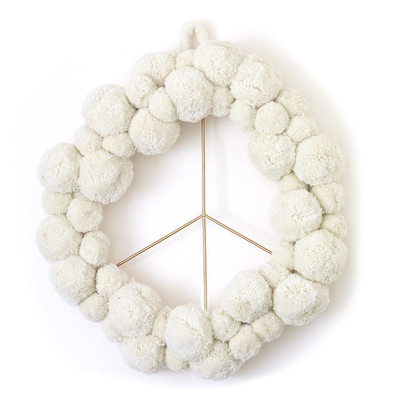 Peace Pom Pom Wreath - New