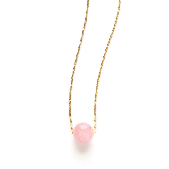Rose Quartz Gemstone Sphere Necklace - New
