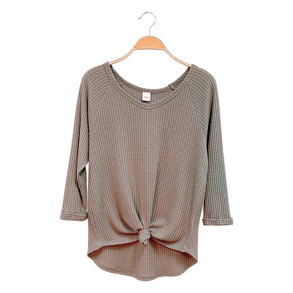 Waffle Tie-Front Top - New