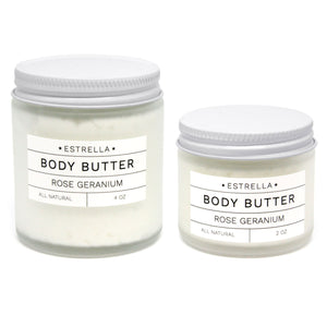 Rose and Geranium Body Butter 4oz - New