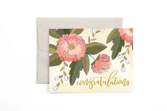 Congratulations Peonies Card