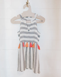 Striped Tasseled Sleeveless Top