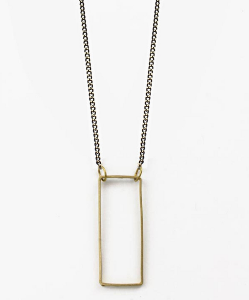 Rectangle Window Mix Necklace