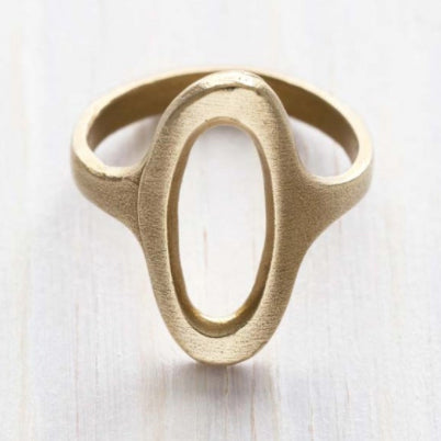 Oval Face Brass Ring