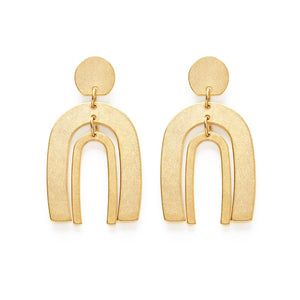 Gold Dangle Arch Stud Earrings - New