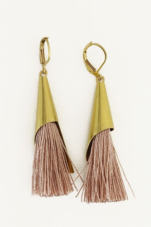 Capped Tassel Blush earrings