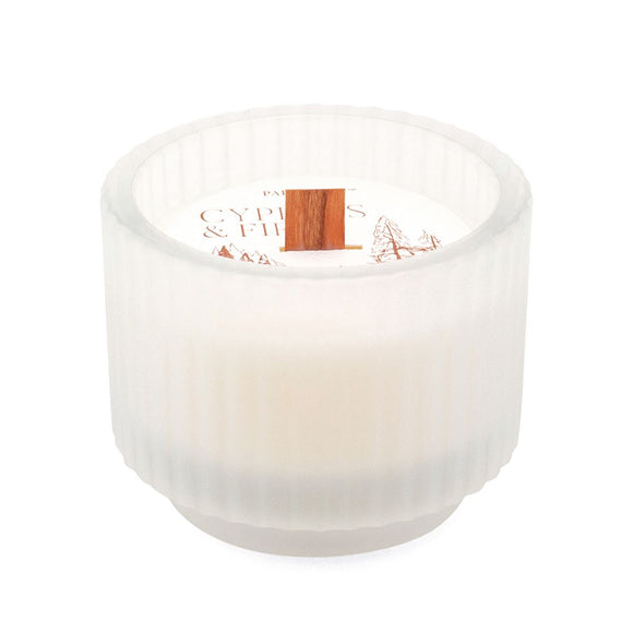 Wood Wick Cypress + Fir Footed Ribbed Glass Candle - New