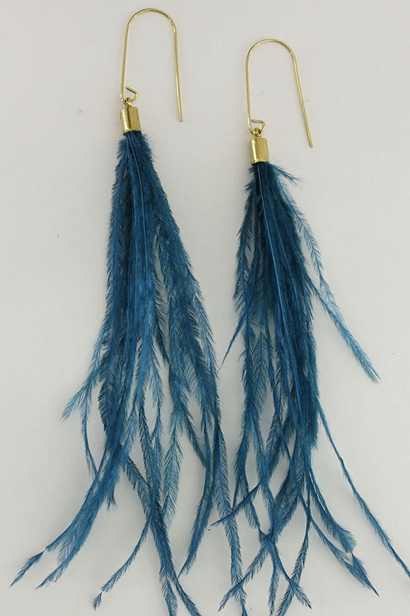 Teal Plume Earrings