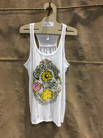 Global Village Wear - Garden Grows Many Flowers - Racer back Tank Top