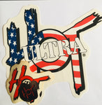 3 Stickers in One Pack! Old Glory (USA Flag) large (9 inch), Red/Black Medium (4 inch) and red (or Blue) Chrome Extra Small (1 inch)
