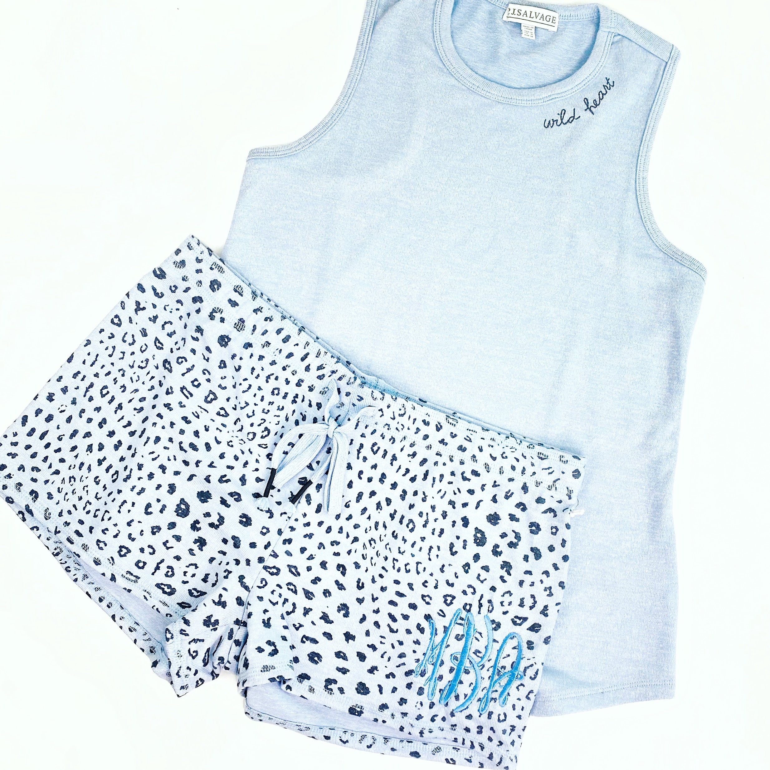 Blue Leopard Sleep Tank & Short Set