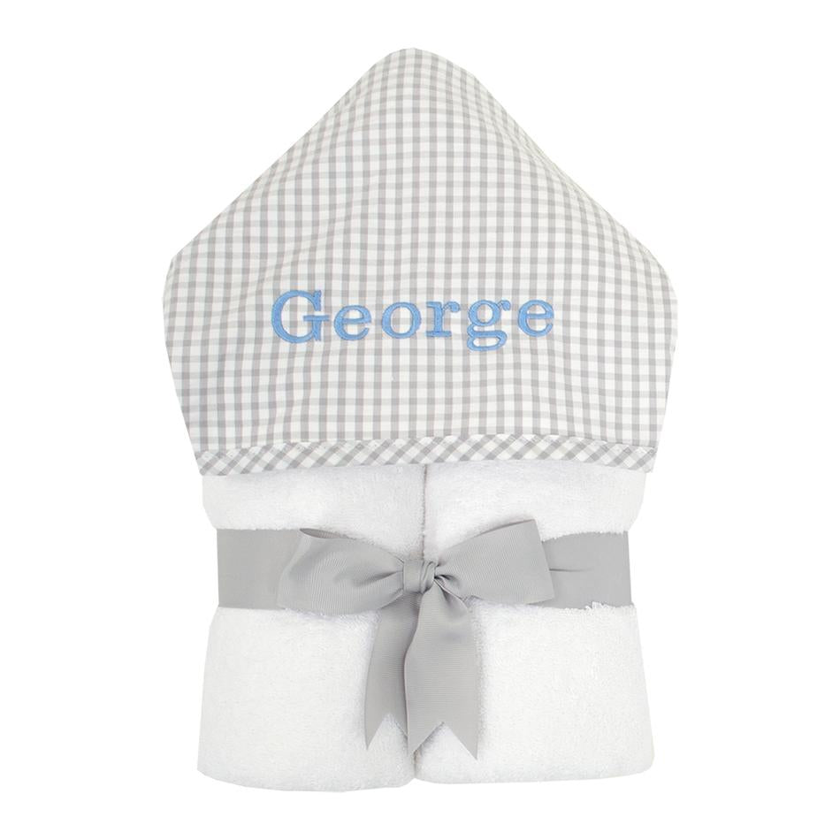 Grey Gingham Hooded Towel