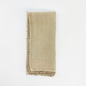 Stone Washed Linen Napkin with Pom Pom Edge