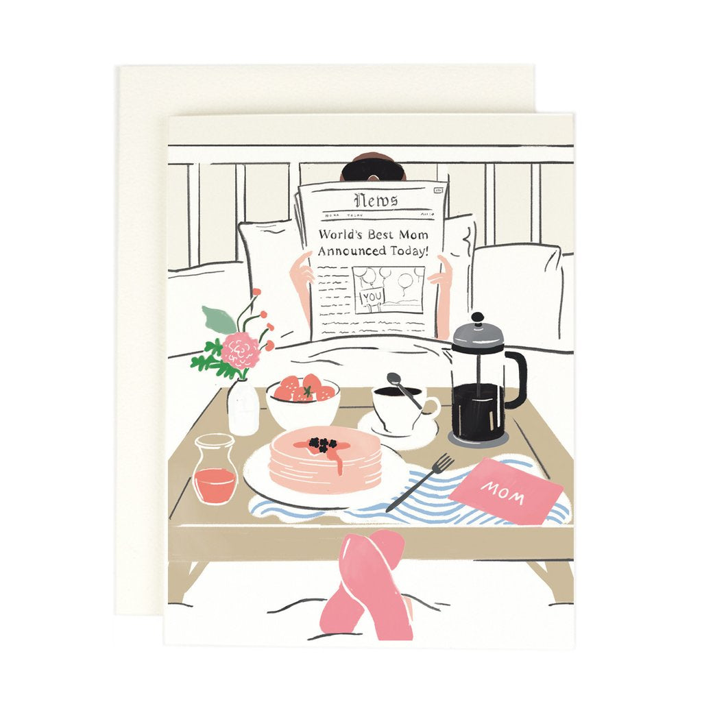 Mom Newspaper Breakfast In Bed Card