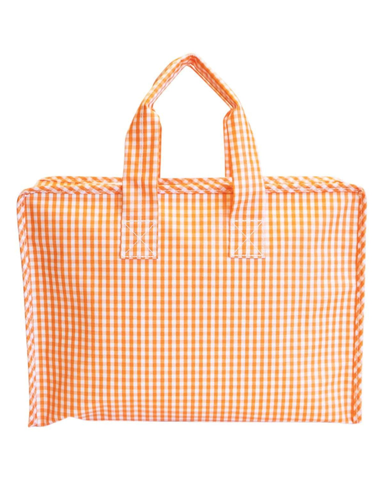 Gingham Market Tote with Zip