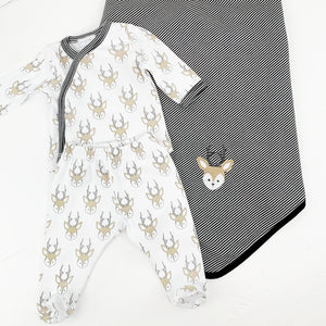 Little Buck Crossover Tee Footed PJs by Magnolia Baby