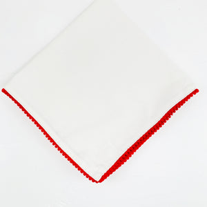 Holiday Dinner Napkin with Red Pom Pom Edge
