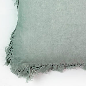 Linen Throw Pillow with Frayed Edge