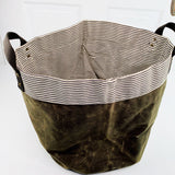 Waxed Canvas Round Bottom Storage Bin