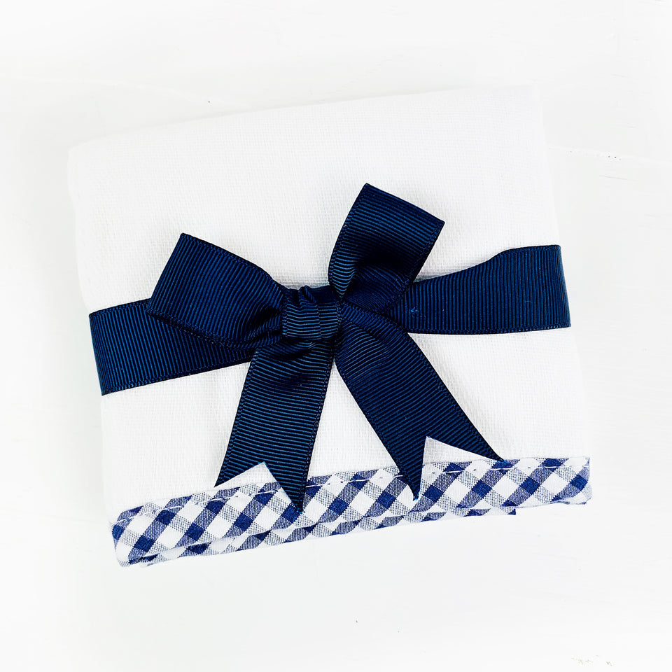 Navy Gingham Trim Burp Pad