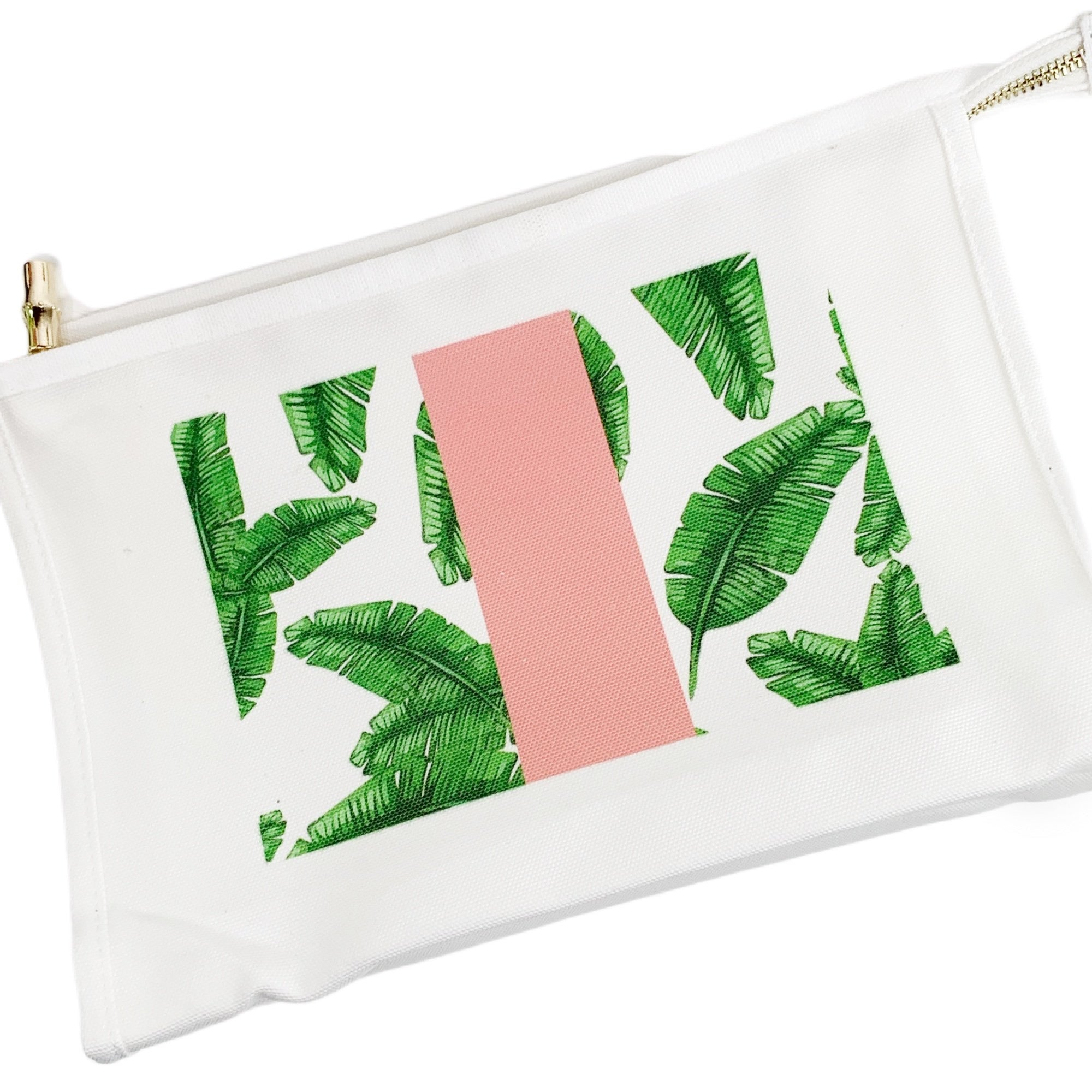 Palm Leaf with Pop of Color Traveler Cosmetic Bag