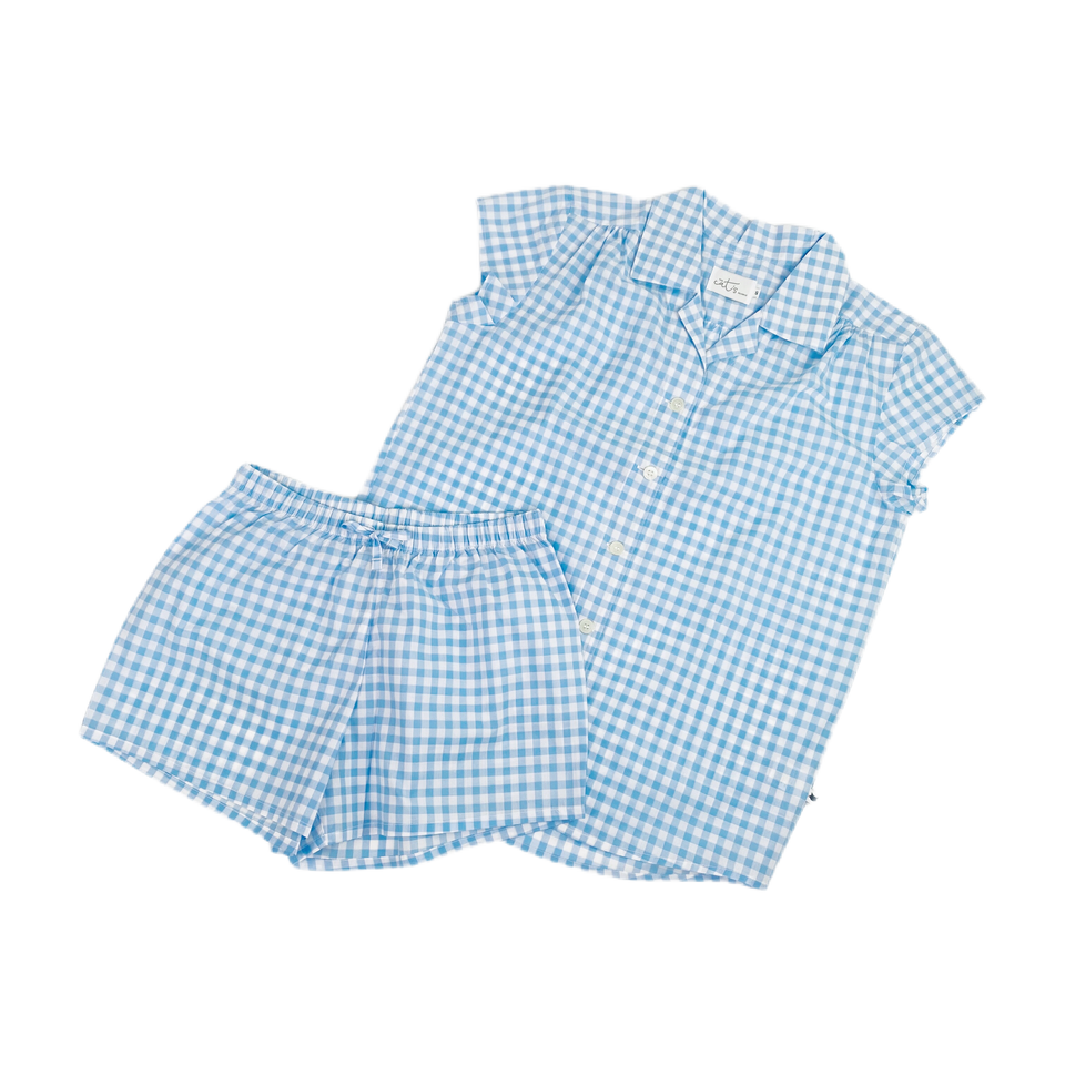 Light Blue Checkered Short Set in Pima Cotton