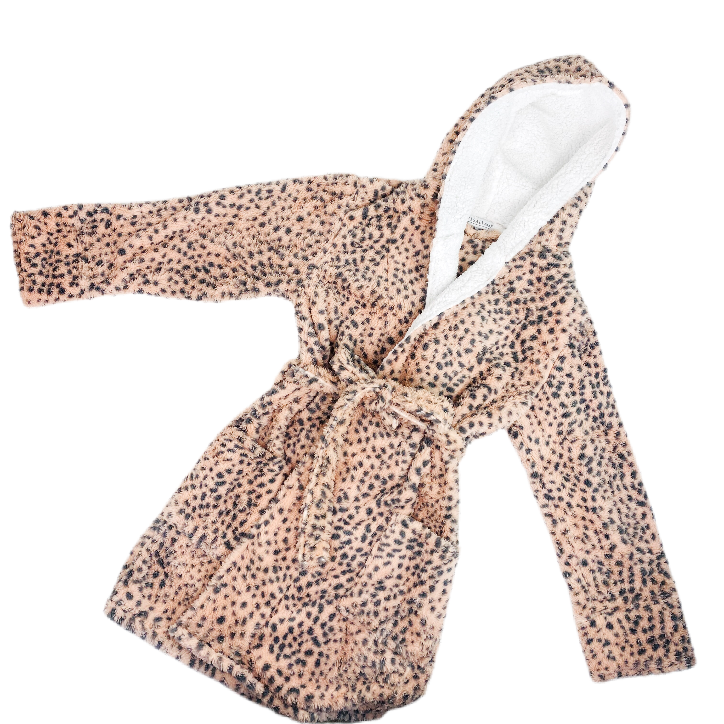 Plush Leopard Robe- Blush