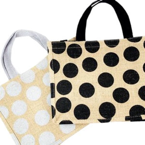 Small Polka Dot or Stripe Jute Shopper