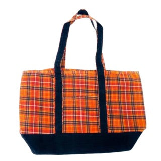 Plaid Medium Waxed Boat Tote w/ Corduroy Trim