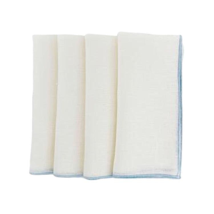 Duet Linen Napkins-Off White with Marine Blue