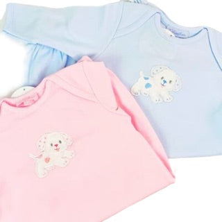 Puppy Newborn Gown In Pink or Blue by 3 Marthas