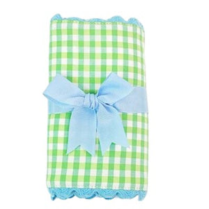 Green Gingham with Blue trim Burp by 3 Marthas