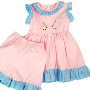 Pink and Blue Ruffle Trim 2pc Romp Set