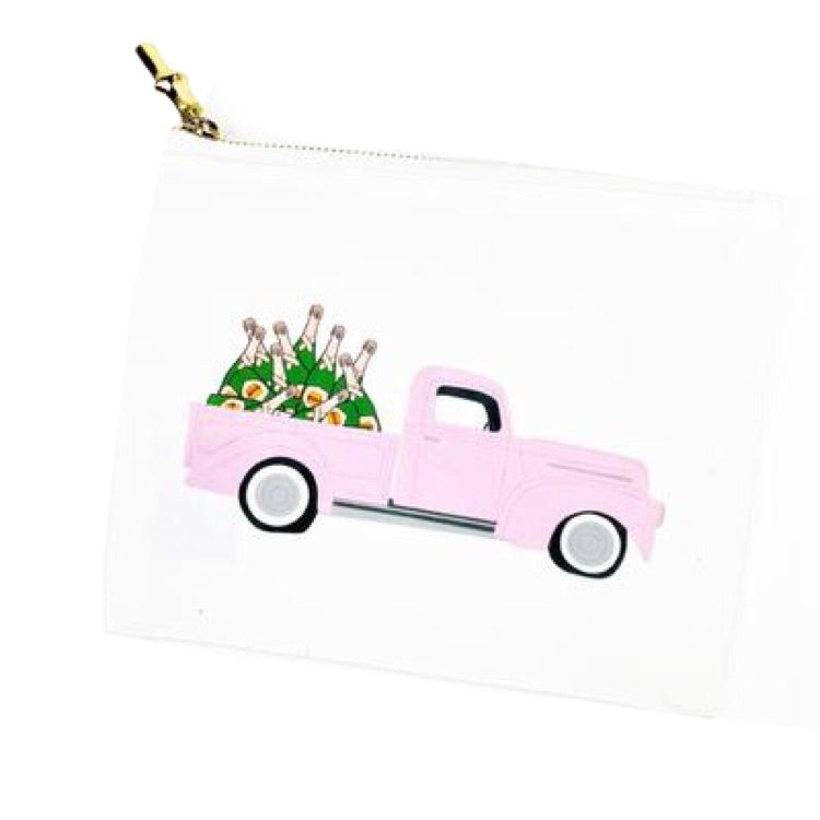 Pink Truck Full of Champagne Cosmetic Bag by Toss Designs